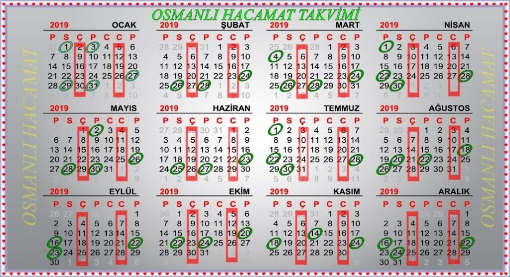 Osmanlı Hacamat Takvimi 2019